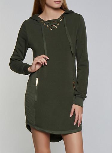 Hooded Moto Sweatshirt Dress,OLIVE,large
