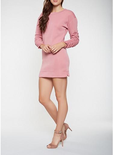 Ruched Sleeve Sweatshirt Dress,MAUVE,large