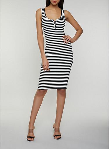 Half Button Striped Tank Dress,BLACK/WHITE,large