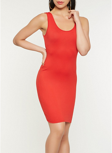 Solid Tank Dress,RED,large