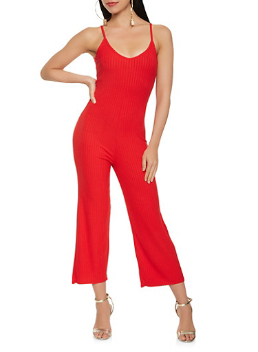 Ribbed Knit Gaucho Jumpsuit,RED,large