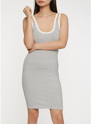Striped Double Strap Tank Dress,WHT-BLK,large