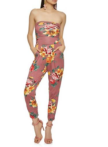 Floral Tube Jumpsuit,ROSE,large