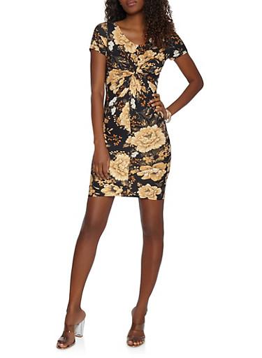 Soft Knit Twist Front Dress,BLACK,large