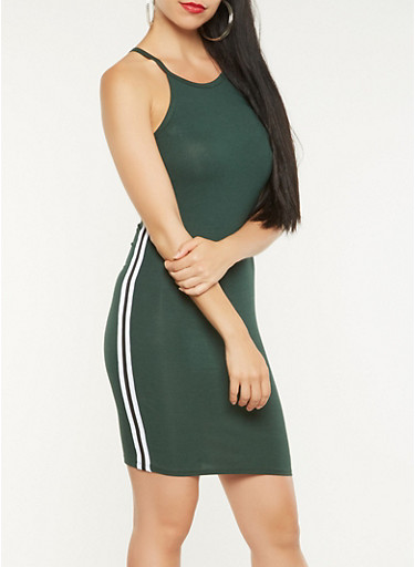 Side Stripe Bodycon Tank Dress,GREEN,large