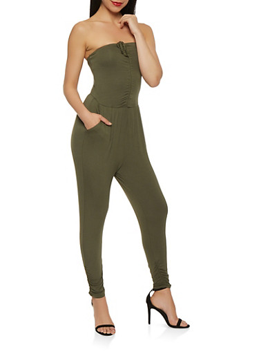 Ruched Tube Jumpsuit,OLIVE,large