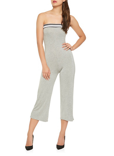 Athletic Band Trim Cropped Jumpsuit,HEATHER,large
