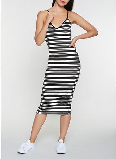 Striped Midi Tank Dress,BLACK,large