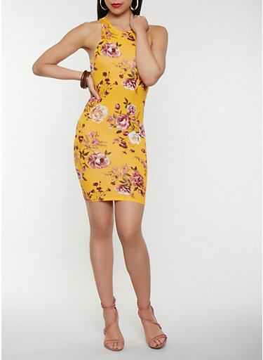 Floral Bodycon Tank Dress,GOLD,large