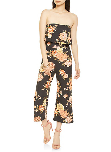 Strapless Floral Cropped Jumpsuit,BLACK,large