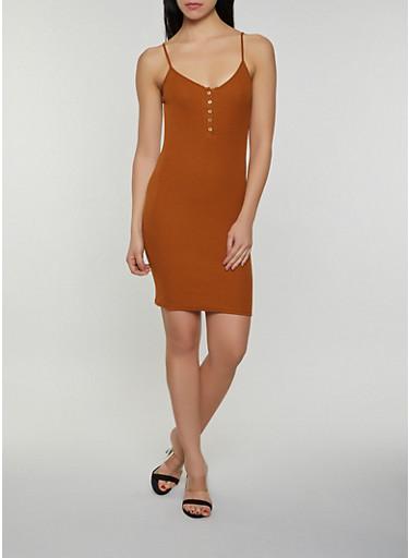 Half Button Rib Knit Cami Dress,BROWN,large