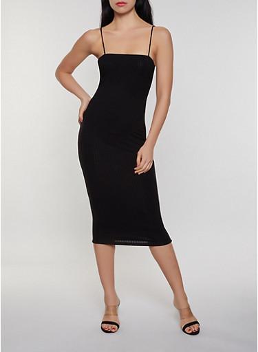 Square Neck Ribbed Knit Cami Dress,BLACK,large