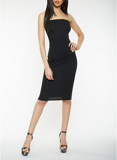 Solid Tube Dress,BLACK,large