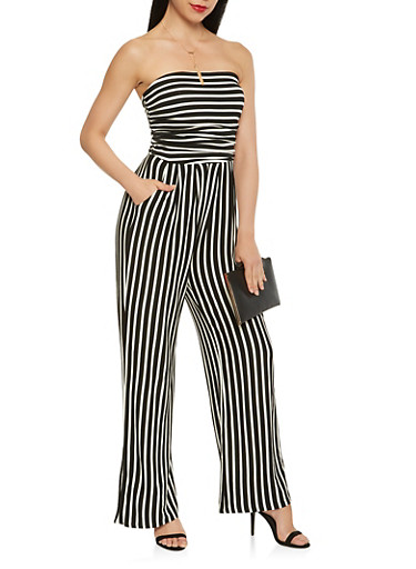 Striped Wide Leg Strapless Jumpsuit,BLACK/WHITE,large