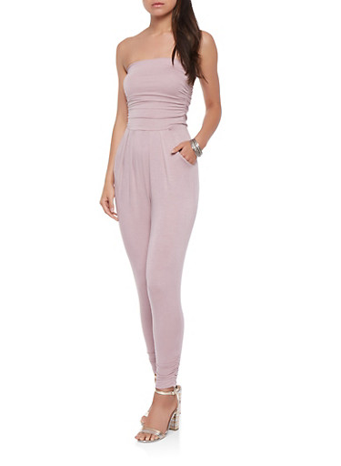 Ruched Tube Jumpsuit,PINK,large