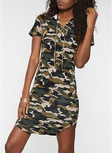 Camo Lace Up Hooded T Shirt Dress,GREEN,large