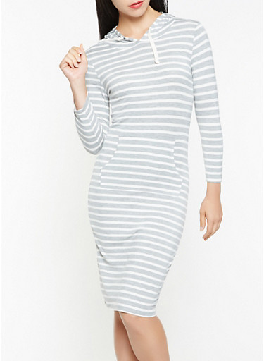 Striped Hooded Dress,HEATHER,large