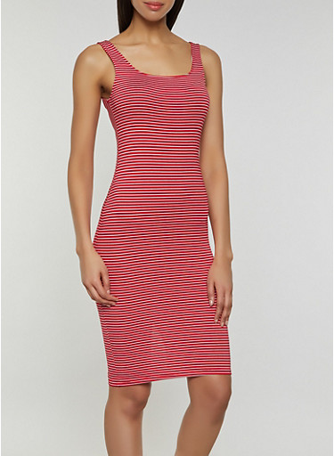 Striped Midi Tank Dress | 3410066499874,RED,large