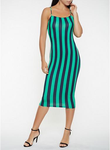Striped Soft Knit Tank Dress,GREEN,large