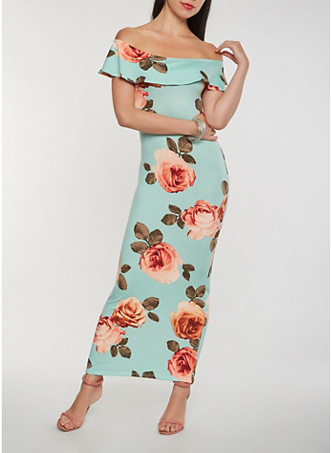 Floral Off the Shoulder Maxi Dress,MINT,large