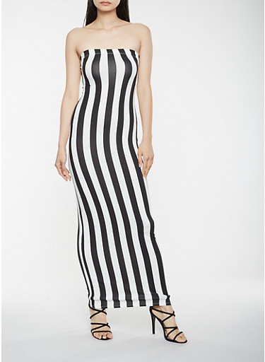 Striped Tube Maxi Dress | Tuggl