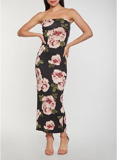 Floral Soft Knit Tube Maxi Dress,BLACK,large