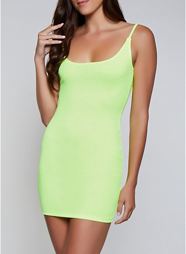 Rib Knit Cami Bodycon Dress,NEON YELLOW,large