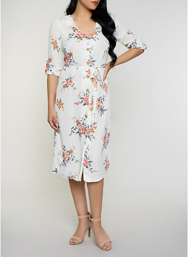 Floral Tie Front Shirt Dress,IVORY,large