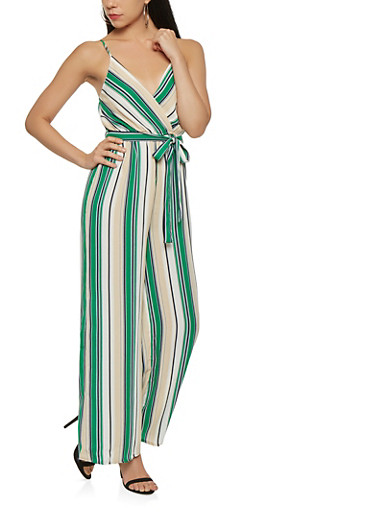 Striped Wide Leg Jumpsuit,GREEN,large