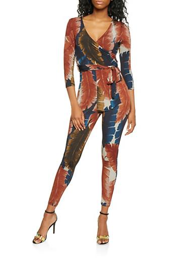 Printed Faux Wrap Jumpsuit,RUST,large