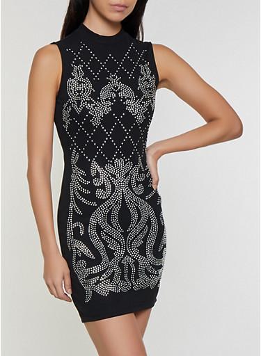 Sleeveless Rhinestone Studded Bodycon Dress,BLACK,large