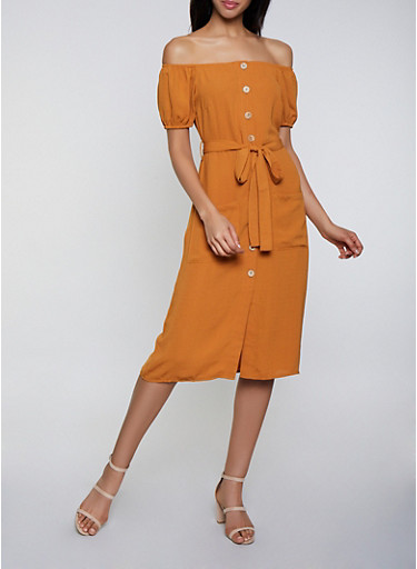 Off the Shoulder Button Front Midi Dress,MUSTARD,large