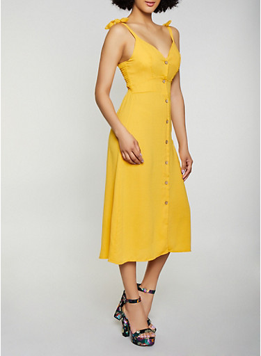 Button Front Midi Dress,MUSTARD,large