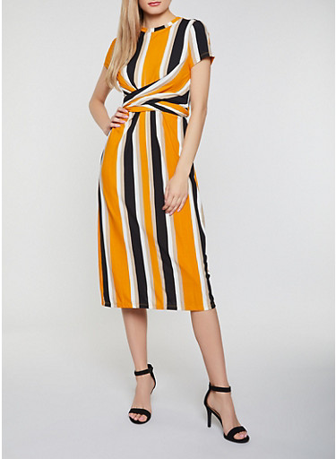 Striped Rib Knit Tie Back Dress by Rainbow