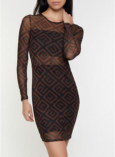 Geometric Print Mesh Dress,BROWN,large
