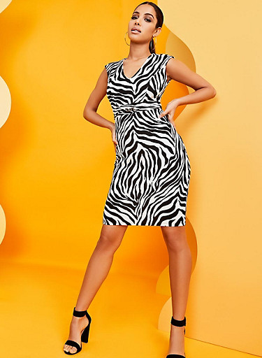Zebra Print Sheath Dress,BLACK/WHITE,large