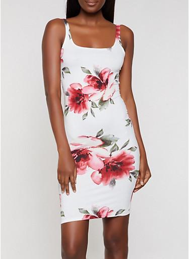 Floral Soft Knit Midi Tank Dress,WHITE,large