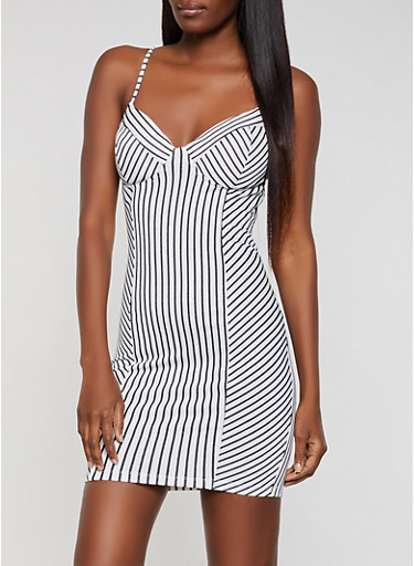 Striped Cami Bodycon Dress,WHT-BLK,large