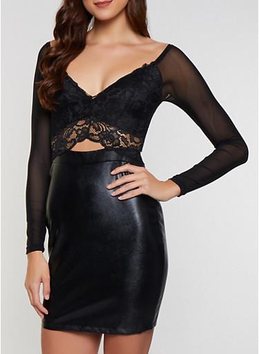 Lace Faux Leather Bodycon Dress,BLACK,large