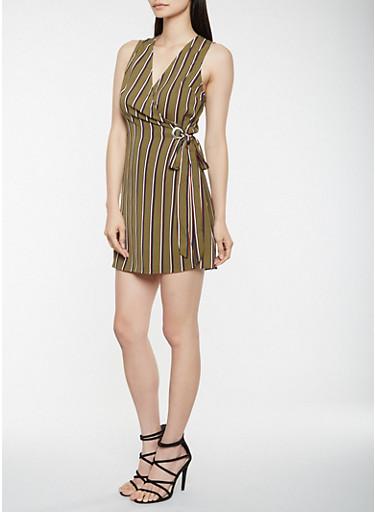 Striped Grommet Wrap Dress,OLIVE,large