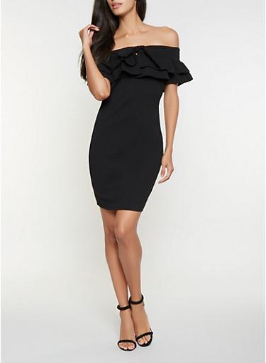 Ruffled Off the Shoulder Dress,BLACK,large