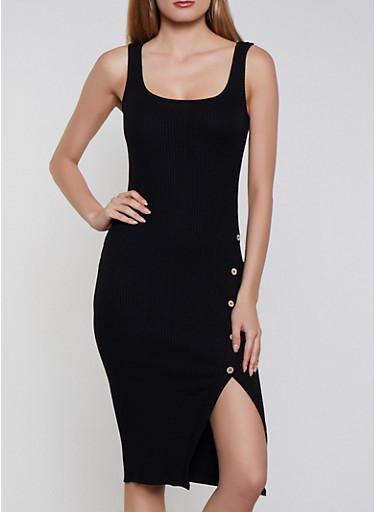 Ribbed Asymmetrical Button Tank Dress,BLACK,large