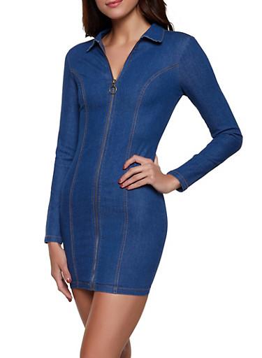 Zip Front Denim Dress,BLUE,large