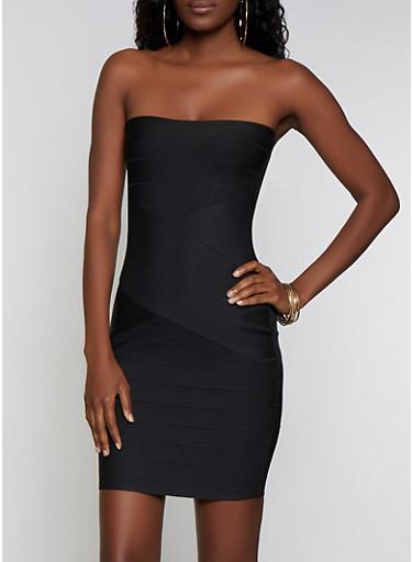 Bandage Tube Bodycon Dress,BLACK,large
