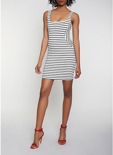 Striped Ponte Bodycon Dress,WHT-BLK,large