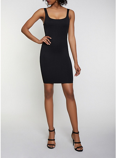 Solid Square Neck Bodycon Dress,BLACK,large