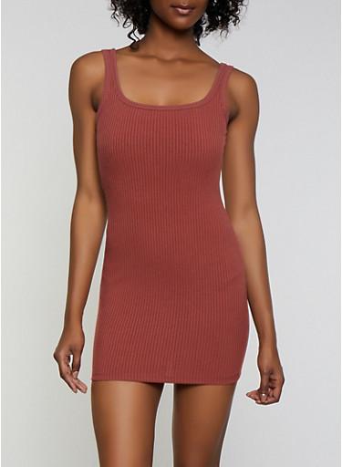 Basic Ribbed Tank Dress,WINE,large