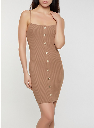 Ribbed Knit Button Bodycon Dress,BROWN,large