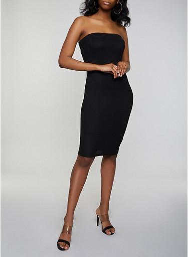 Crepe Knit Tube Midi Dress,BLACK,large