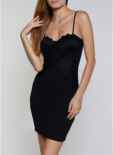 Lace Detail Bustier Dress,BLACK,large